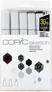 Copic Markers SKETCHING GRAYS 6-Piece Sketch Set Dual Tip Markers!