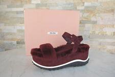 Miu Miu Gr 35,5 Sandalias con Plataforma Cuñas Zapatos Piel de Oveja Rojo Nuevo