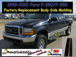 1999-2001 Ford F150 F250 F350 Chrome Black Body Side Molding Trim