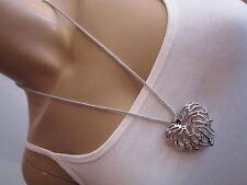 Damen Hals Kette Bettelkette Modekette Modeschmuck Lang Strass Herz Silber w674
