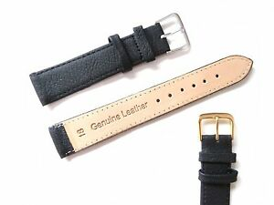 Black High Quality Men's Ladies Genuine Soft Leather Watch Band Strap 6mm-22mm