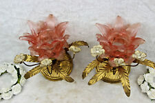 PAIR hollywood regency  wall lights sconces metal pink glass attr maison jansen