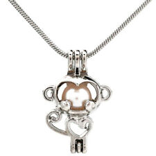 """Pick a Pearl Baby Monkey Locket Pendant Bead Cage 22"""" Steel Snake Chain S-KP70"""