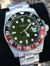 Parnis 40mm Black Dial Sapphire Glass GMT Date Red Black Coke Automatic Watch