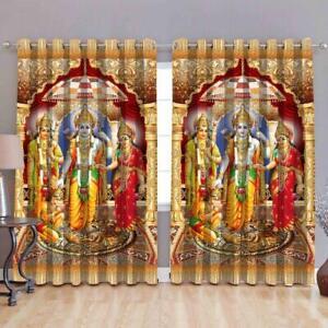 Polyester 3D Digital Print God, Bhagwan Door Curtains Eyelet