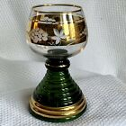 """Vintage Musical German Chalice Goblet Green & Gold Plays """"Auf Wiedersehen"""""""