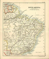 "1890 small map of "" south america section 2 "" by john bartholomew 1890"