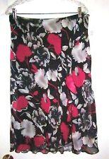 18 14W Sag Harbor Lined Asymmetric Ruffle WASHABLE Print Skirt NWTS Ret $36