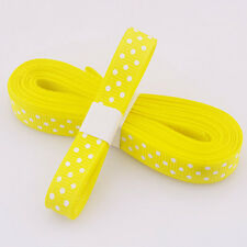 "5yds 3/8""(10 mm) Yellow Christmas Ribbon Printed lovely dots Grosgrain Ribbon#"