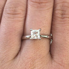 Certified 14k WHITE Gold Natural PRINCESS Diamond Solitaire Engagement Ring