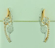 14K Solid White & Rose Gold Natural Diamond Stud earring  simple style 0.50 ct