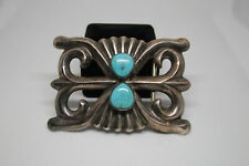 Sand Cast Vintage Southwest Sterling Silver Belt Buckle with Turquoise Stones
