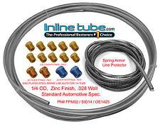 OEM Zinc Steel Brake Line Tubing Kit 1/4 OD Coil Roll Tube Nut Fittings Armor