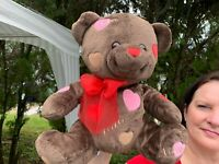 "RARE Vintage Walmart Hearts XOXO LOVE Teddy Bear 11"" Plush Stuffed Animal Toy"