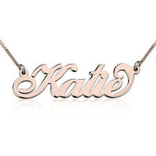 Rose Gold Name Necklace - Carrie Style Rose Gold Plated with Any Name Necklace