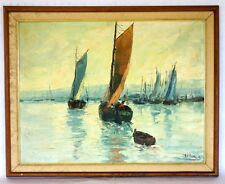 Mid 20th c Original Oil Painting of Sailing Boats in harbor signed J. Hilario