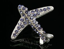 2pc Sparkly violet purple crystal silver Brooch pin Aircraft Airplane Jet flight