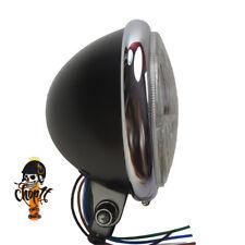 Schwarzer Motorrad Scheinwerfer mit Chromring Hauptscheinwerfer Halter unten