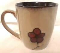 Pfaltzgraff Studio ASTER Coffee Tea Mug Cup Red Flower on Beige Brown Inside