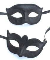 HIS N HERS PAIR COUPLES CO-ORDINATED BLACK VENETIAN MASQUERADE PARTY EYE MASKS