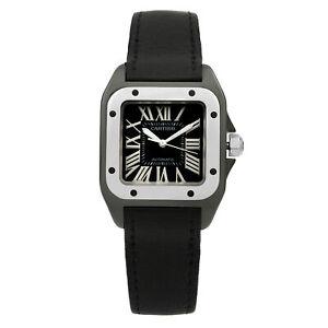 Cartier Santos Carbon Coated Black Dial Automatic Ladies Watch REF 2878
