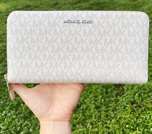 Michael Kors Jet Set Travel XL Zip Around Wallet PVC Bright White MK Signature