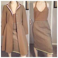 MIU MIU by PRADA Vintage Brown Camel Textured Wool Halter Dress & Coat Set IT42
