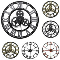"12"" 16"" 23"" Large Garden 3D Wall Clock Roman Numerals Gear Round Indoor/Outdoor"