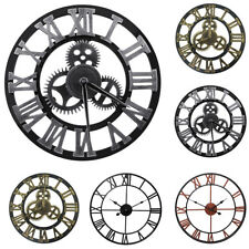 "12"" 16"" 23"" Large Garden 3D Wall Clock Roman Numerals Gear Round Indoor/Outdoor"