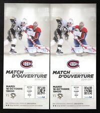 2 2016-17 Montreal Canadiens & Pittsburgh Penguins Opening Night Full Tickets
