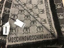 "Moschino Wool Luxury Logo-Patterned Throw Blanket (Black/Grey) 70"" x 60"""