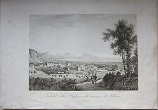 1845 VEDUTA DELLA BAGHERIA PALERMO Zuccagni Orlandini acquaforte originale