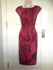 Phase Eight Peacock Red Pink Purple Ruched Pencil Cocktail Dress Size 12 Ex Cond
