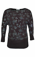 New Womens Glitter Top Ladies Batwing Floral Shirt Band Plus Size Party Nouvelle
