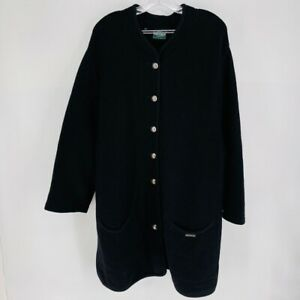 Geiger Collection Austria Size 46 Black Pure Wool Button Long Overcoat Jacket