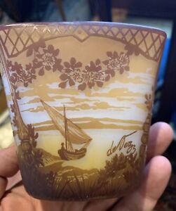 Antique deVaz French Cameo Glass Short Case Caramel  & White Color Lake Scene