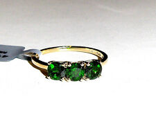 10K Yellow Gold Green Chrome Diopside Round Three-Stone Ring, Size 7, 1.62(TCW)