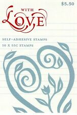 2009 AUSTRALIAN STAMP BOOKLET WITH LOVE (FILIGREE) 10 x 55c STAMPS MUH