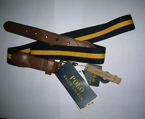new Polo Ralph Lauren stripe cotton leather belt navy blue yellow 36 38 MSRP $75