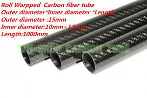 L1000mm 3k Carbon Fiber Tube OD15mm ID 10mm 12mm 13mm  Roll Wrapped Pipe/Shaft