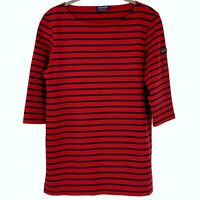 SAINT JAMES Red Navy Stripe Scuba Knit Boat Neck Top Size 8 Nautical Sailor Tee
