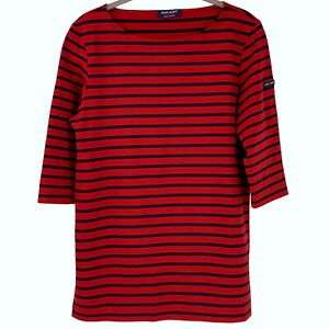 SAINT JAMES Red Navy Stripe Scuba Knit Boat Neck Top Size 8 Nautical Sailor Tee