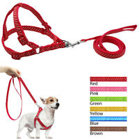Step-in Nylon Dog Pet Harness and Matching Lead Set Adjustable for Dogs S M L
