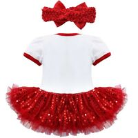 Baby Girls 1st Christmas Infant Romper Tutu Skirt Headband Outfit Santa Costumes