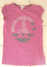 Tee shirt fille 10 ans OKAIDI manches courtes violet avec strass motif peace and