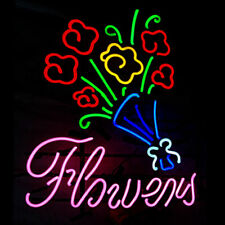 "New Beautiful Flowers Neon Light Sign 24""x20"" Lamp Poster Real Glass Beer Bar"