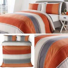 Orange Duvet Covers Grey Stripe Banded Stripes Modern Quilt Cover Bedding Sets