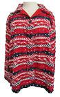 Keren Hart Vintage Womens Red White Blue Jacket Top 2XL Patriotic Ribbon Stars