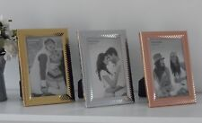 """Gold Silver Copper Rose Decorative Ribbed Metal Photo Frame Free Standing  4x6"""""""