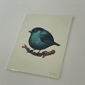 Mike Mitchell Black Capped Tanager 2018 Fat Bird Kingdom SIGNED turquoise